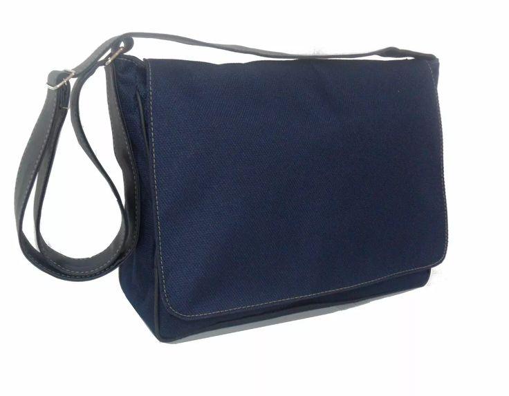 bolsa pasta carteiro nylon + couro sintético masculino femin
