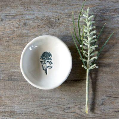 Bush Prints Collection ~ waratah tiny porcelain bowl    A collaboration between artist Renée Treml and Kim Wallace Ceramics ~ Handmade Australian Ceramics