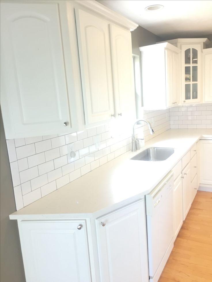 White subway tile, Copley gray paint, kitchen remodel