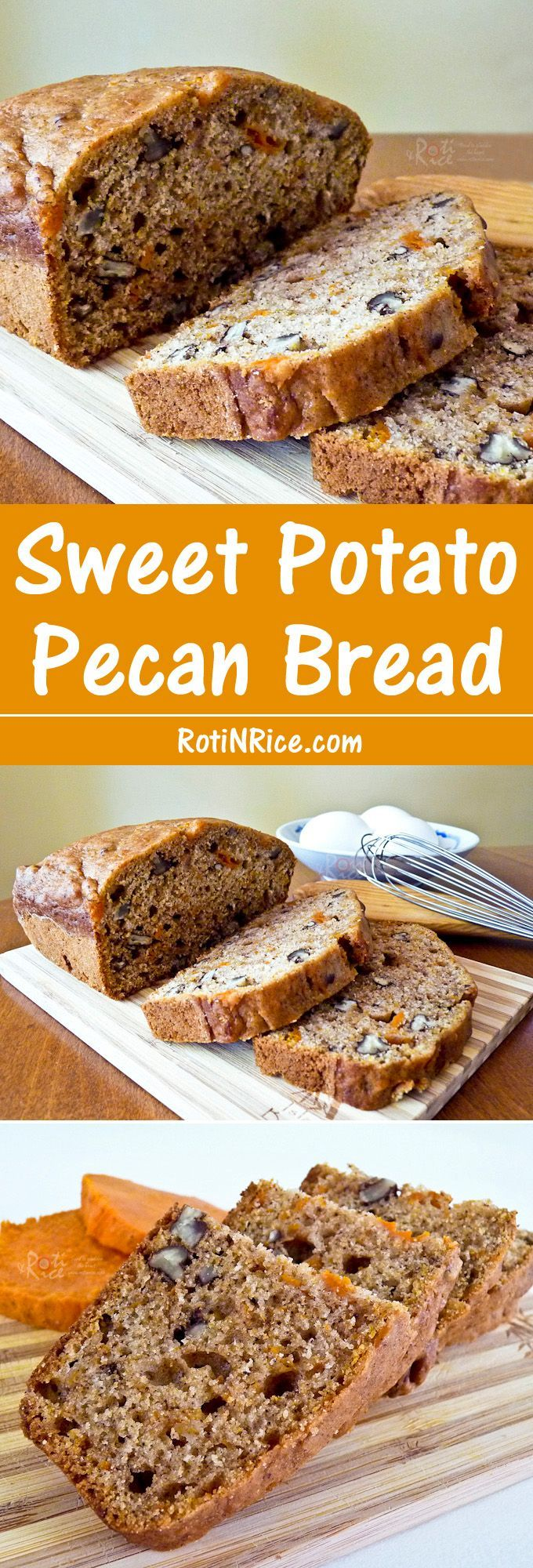 This Sweet Potato Pecan Bread was inspired by the autumn favorite, candied sweet potatoes. It is moist, fragrant, and delicious served warm. Definitely make ahead and freeze leftovers if any. | RotiNRice.com