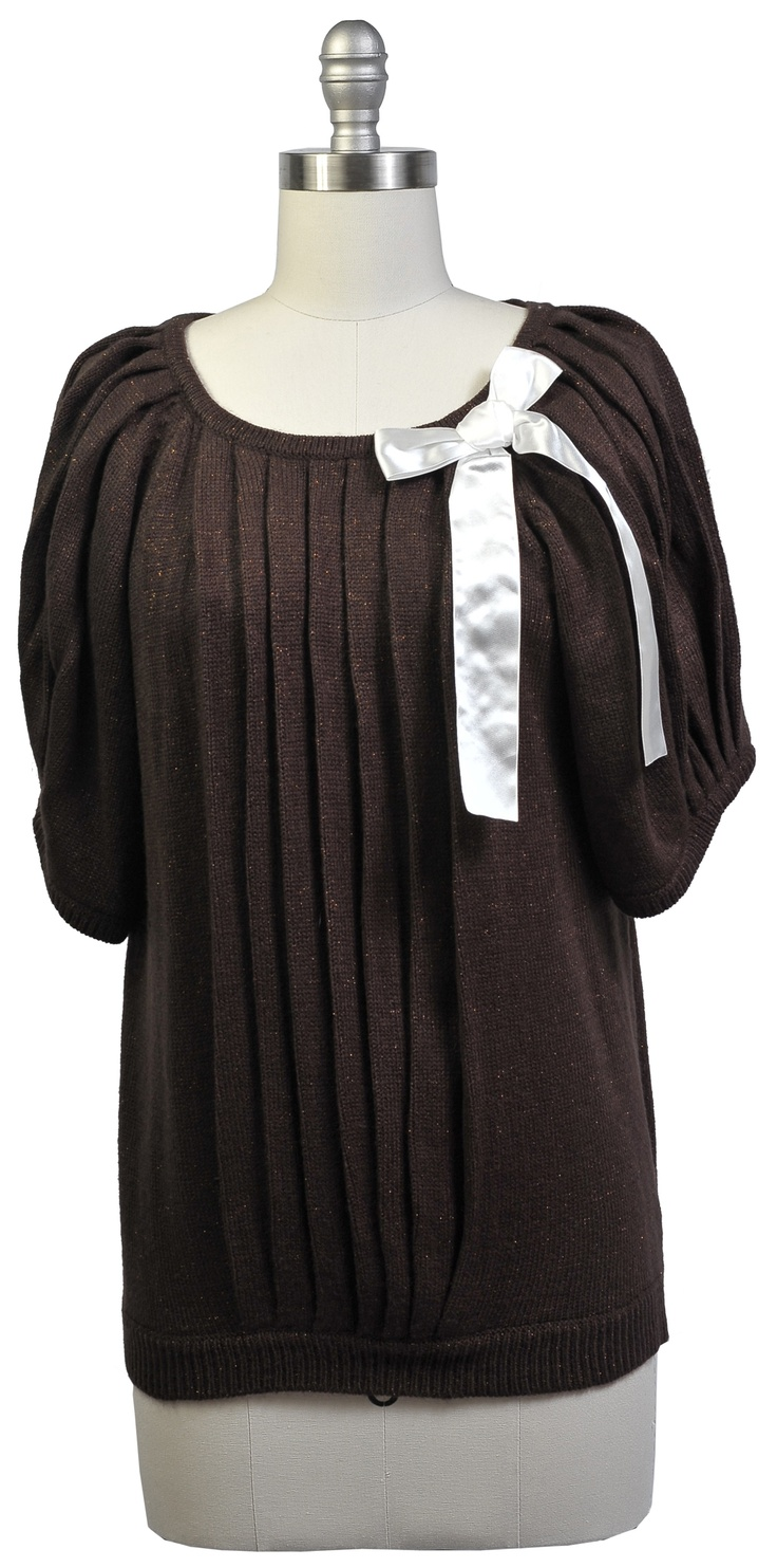 Dolman Pleated Top  Color: coffee & heather gray