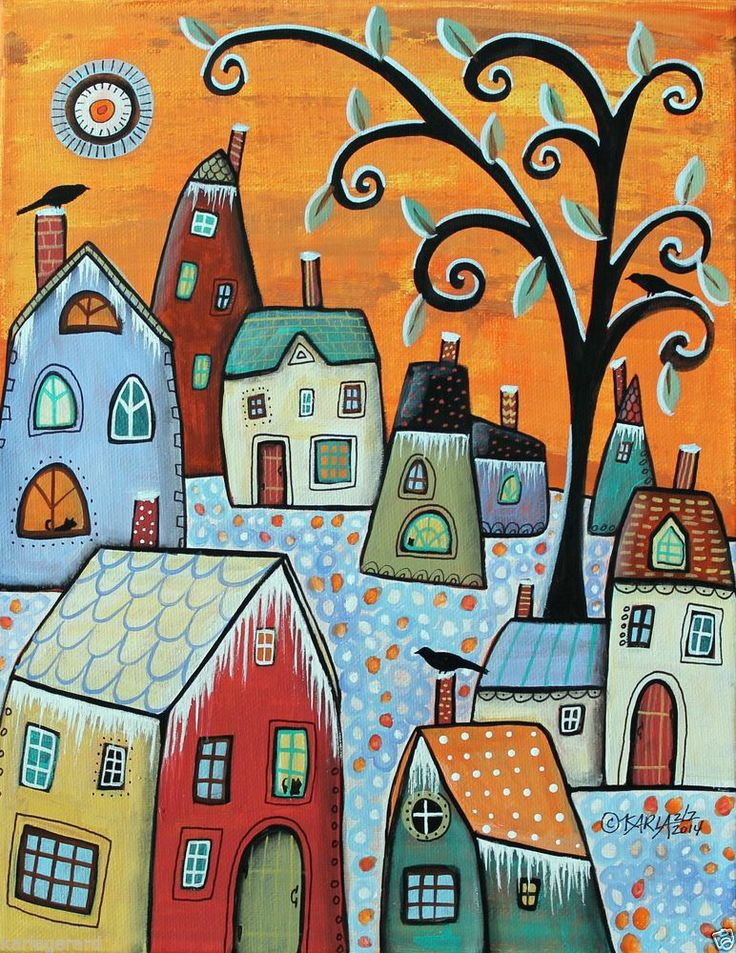 Hoarfrost 11x14 Houses Birds ORIGINAL Canvas PAINTING FOLK ART ABSTRACT Karla G..Brand new painting, for sale..