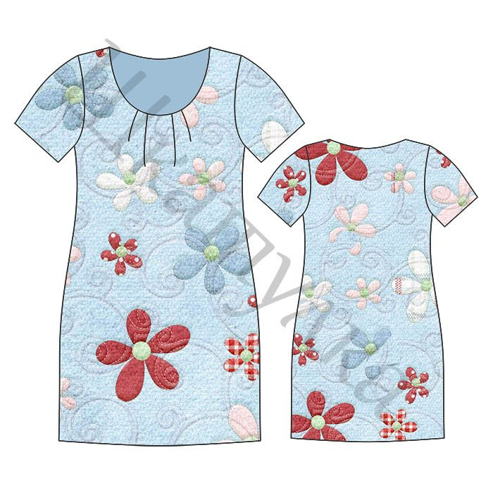 Free Sewing Pattern: Nightgown-3 Sizes. Pattern Are Without Seam Allowance.  http://materials.tell4all.ru/vykrojka-nochnoj-sorochki/
