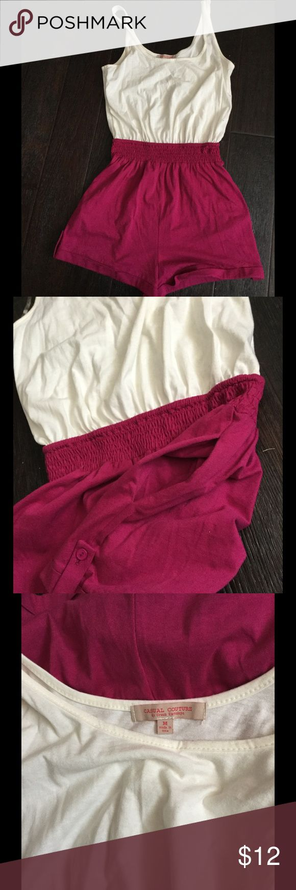 Casual couture raspberry and cream Jumper Size M Casual couture. Made in the USA. 100% cotton. Raspberry and cream color. Pockets. Button detail on the outer short. Size M. casual couture Other