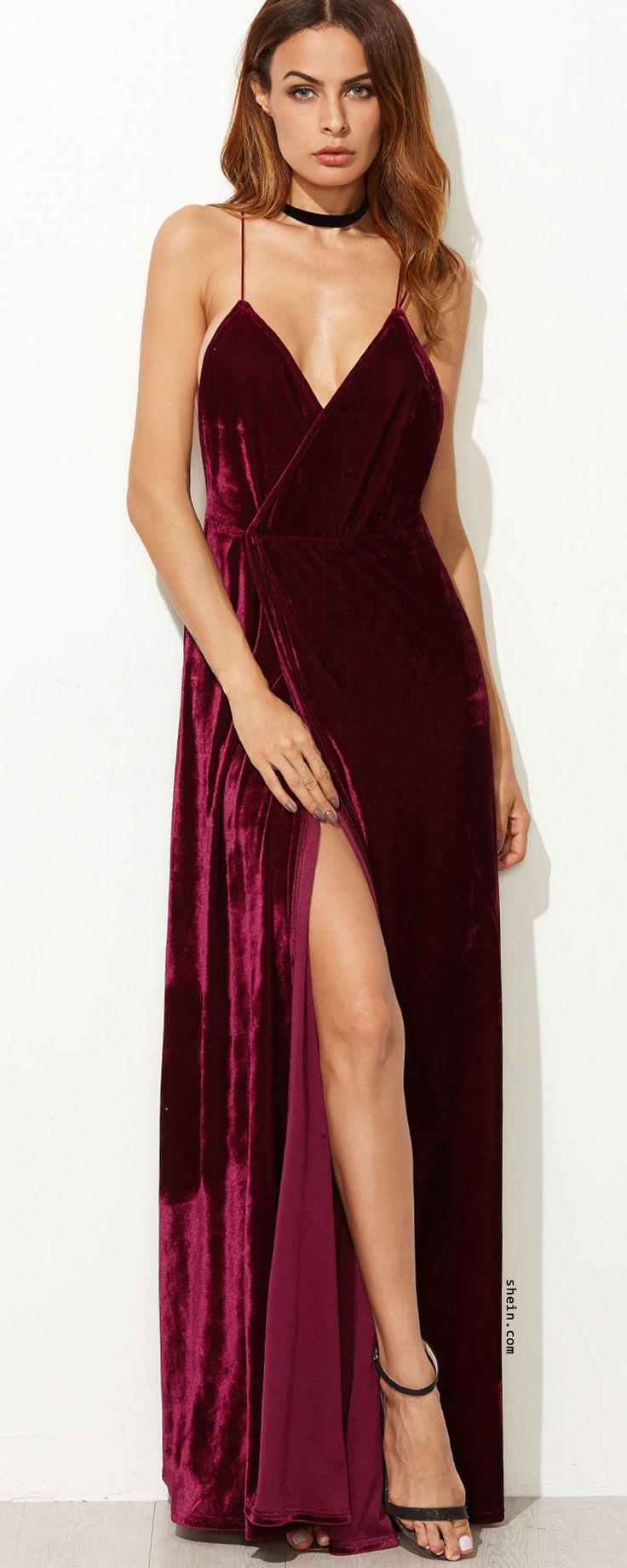 Burgundy Strappy Backless Velvet Wrap Dress