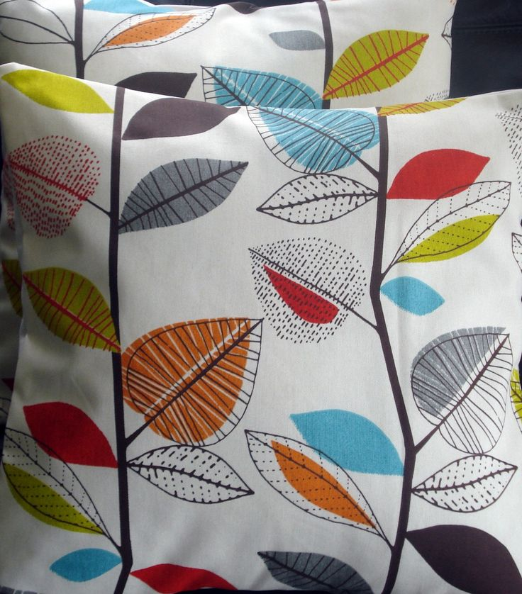 Decorative pillow turquoise blue red orange yellow green brown gray grey leaf  cushion shams UK designer fabric 16 x 16 inch. $20.00, via Etsy.