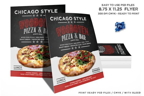 Wood Oven Pizza Menu Flyer by luis007 on Creative Market