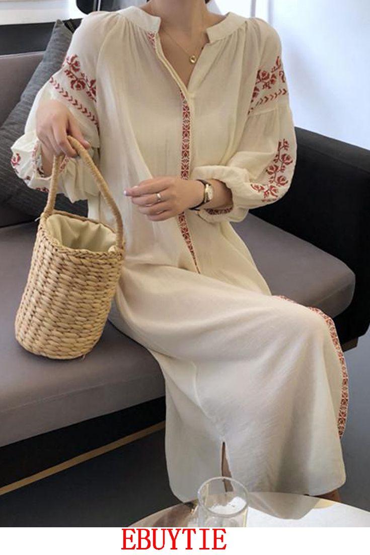 a5892e301007 Elegant Fashion Vacation Loose Floral V Collar Puff Medium Sleeve ...
