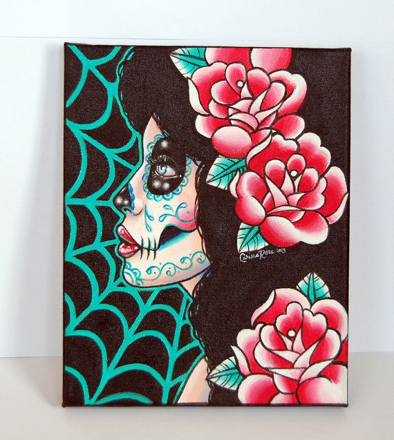 Lost in Reverie Original Day of the Dead Dia De Los Muertos Sugar Skull Girl Tattoo Inspired 8x10 in Stretched Canvas ORIGINAL Painting OOAK