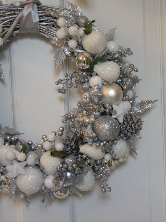 Silver And White Christmas Wreath By Celebrateanddecorate