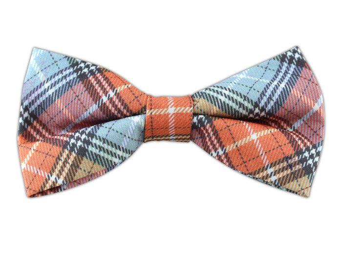 - Partridge Plaid - Tangerine/Green Shale (Cotton Bow Ties)