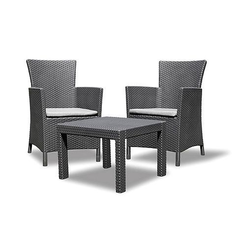 allibert rosario balcony set graphite grey garden furniture setsrattan