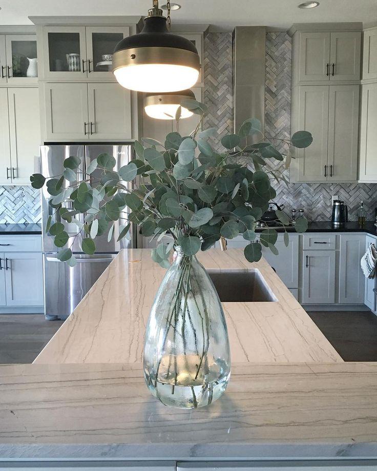 vases of eucalyptus for highboys