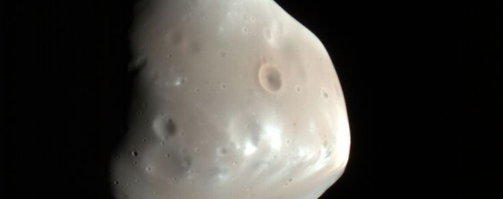 Deimos, Moon of Mars, discovered 137 years ago today. Image by NASA's HiRISE.