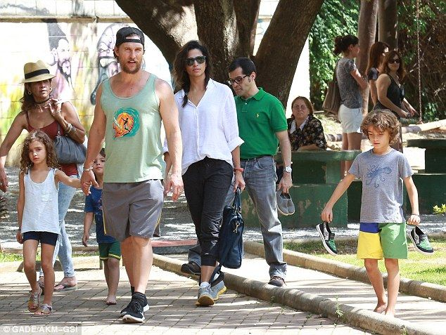 Home sweet home: Wife Camila Alves, 34, who is a Belo Horizonte native, was also dressed quite casually for the family outing