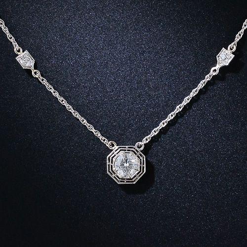 Art Deco Diamond and Platinum Necklace
