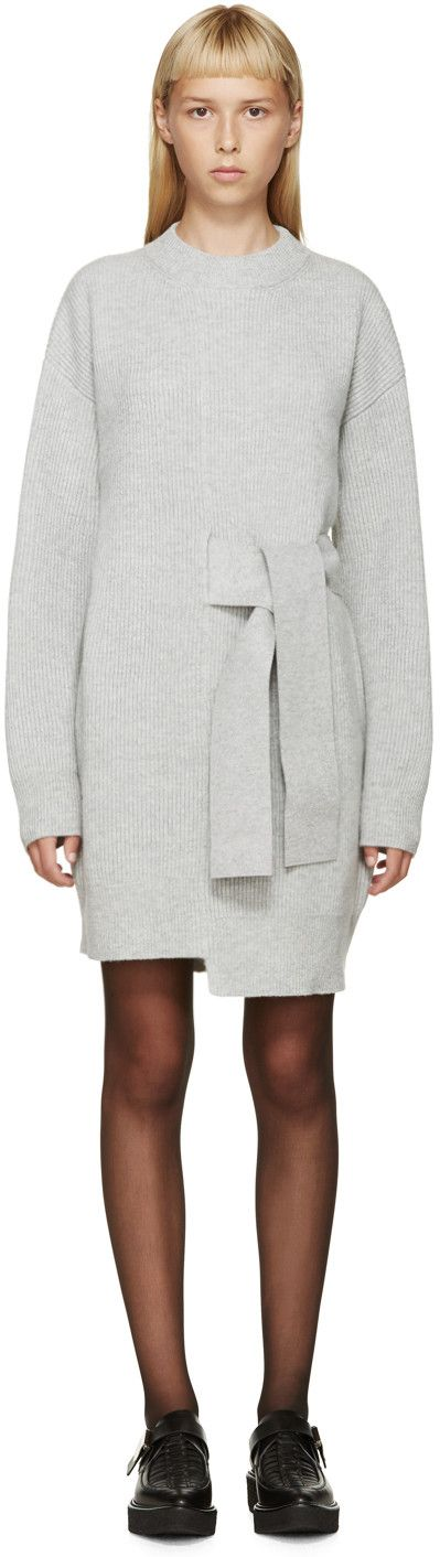 Proenza Schouler Grey Wool Knit Sweater Dress