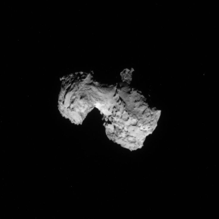 [Pin It] ESA released the most detailed image yet of comet 67P/C-G captured by the Rosetta spacecraft on Aug. 3, just 300 kilometers (186 miles) away from the comet.