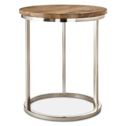 Threshold Metal Accent Table With Wood Top Dimensions 22
