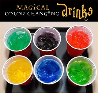 Color-Change Drinks-  Place 2 to 3 drops of food coloring at the bottom of each party cup and let dry. Just before serving the drinks, fill each cup with ice to hide the food coloring. While each child watches, pour the drink over the ice, and the clear water or soda will ?magically? turn into a color as it fills their cup! Use different colors of food coloring so that the kids won?t know what color to expect from their ?magic? soda.