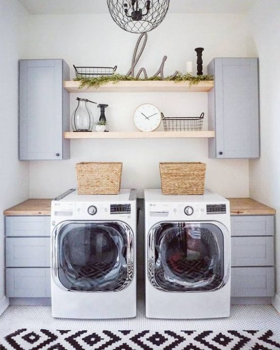 via Household No. 6 | Modern Farmhouse Laundry Room | Open Shelving Laundry Room