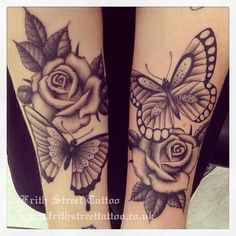 Butterfly & rose tattoo; maybe even best friends