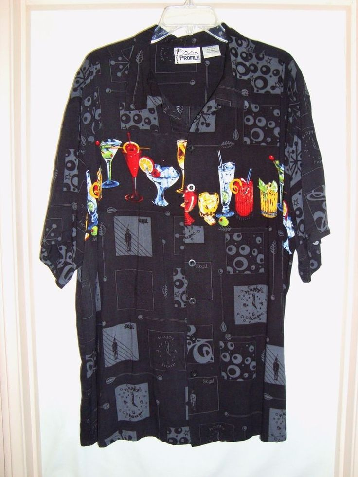 "Details: This is a fun shirt with various cocktails across the chest and back. Shirt has a straight hem and an extra button. B ack length : 31 1/4"" (Measured from bottom of collar). Sleeve : 11 1/4"" (Measured from bottom of collar). 