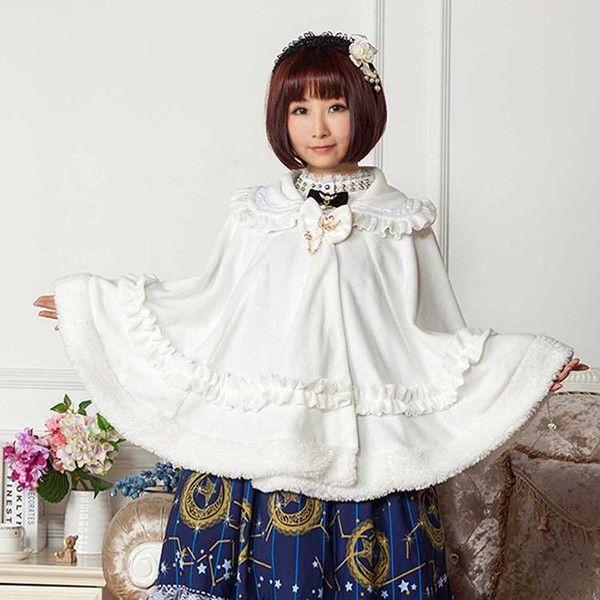 原创白色娃娃领摇粒绒软萌lolita甜美公主风斗篷大衣洛丽塔外套