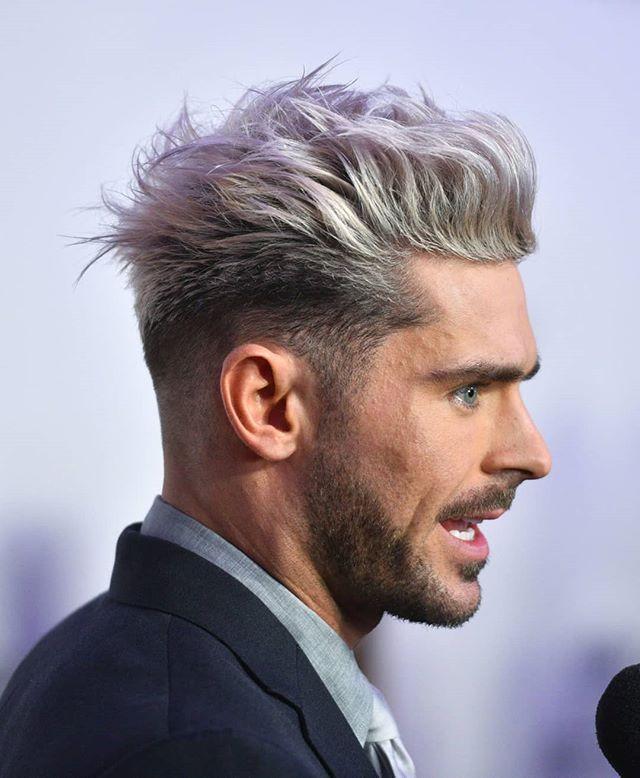 Zac Efron S Hair Is Kind Of A Big Deal Grey Hair Men Mens Hair Colour Men Hair Color