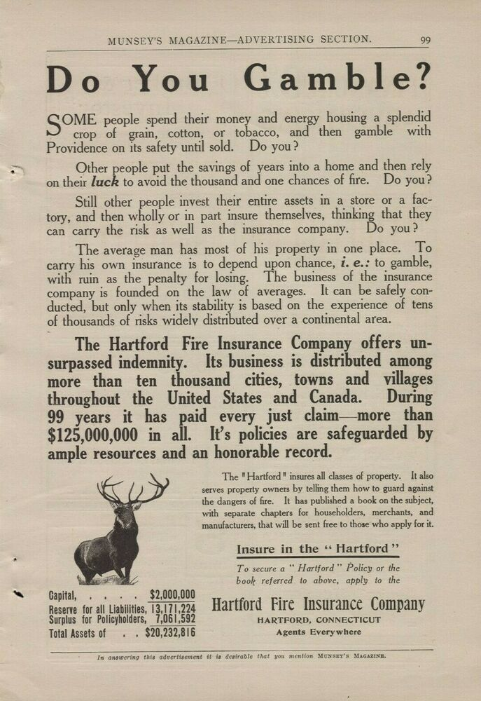 1909 Hartford Fire Insurance Company Elk Deer Logo Do You Gamble