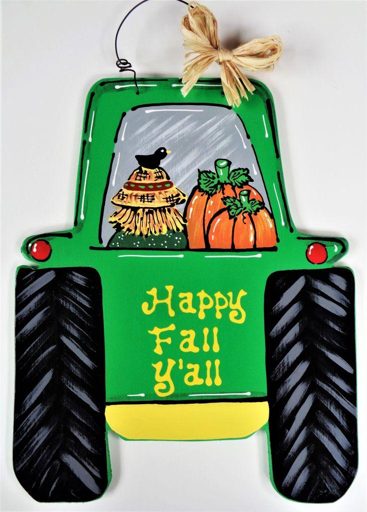 Happy Fall Y'all FARM TRACTOR Scarecrow & Pumpkin SIGN