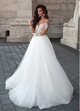 Buy discount Attractive Tulle Bateau Neckline Ball Gown Wedding Dresses With Lace Appliques at Dressilyme.com