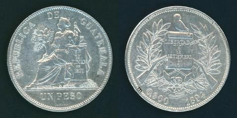 Guatemala Crown Size Silver Coin 1894 One or Un Peso Justice Seated Facing Left Nice Lustrous Extremely Fine or Much Better