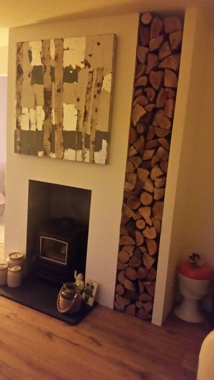 log store next to wood burner