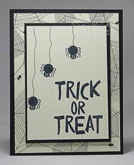Howl-o-ween Treats Spider Card - www.dreamingaboutrubberstamps.com - Need a clean and simple Halloween card? The Stampin' Up! Howl-o-ween stamp set with Happy Haunting paper in Basic Black and Very Vanilla team up make cute and quick projects