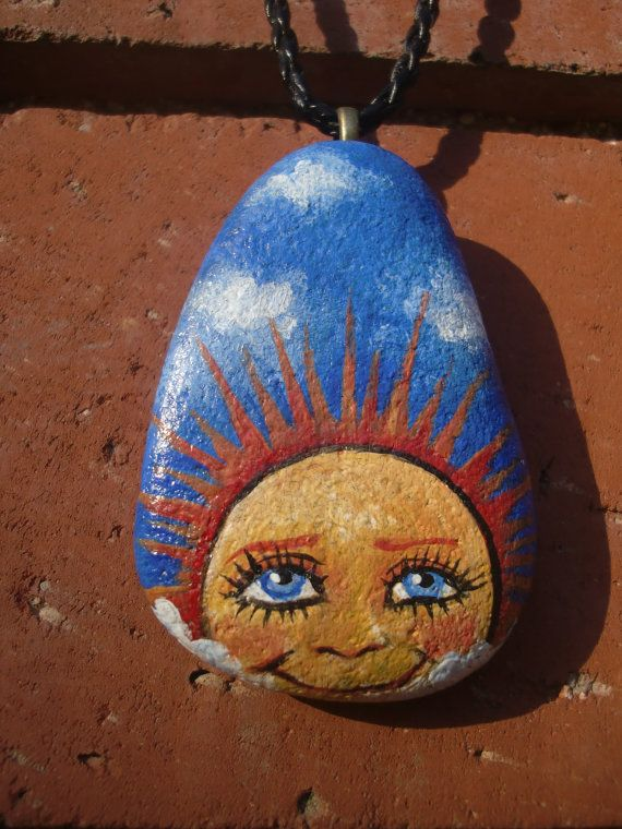 SHINY HAPPY Smiling Sun  painted rock pendant by MyGardenRocks, $15.00