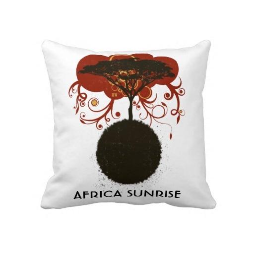 Africa sunrise customisable throw pillows