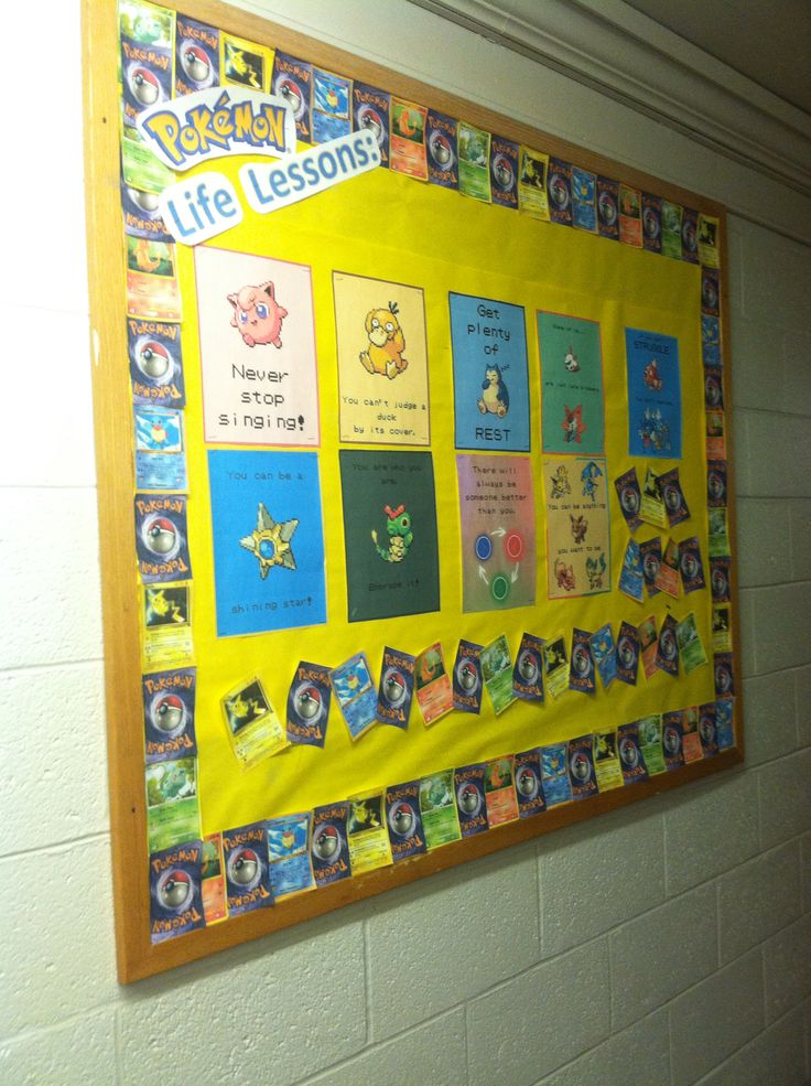 I love my first bulletin board! Pokemon life lessons to start off the semester!