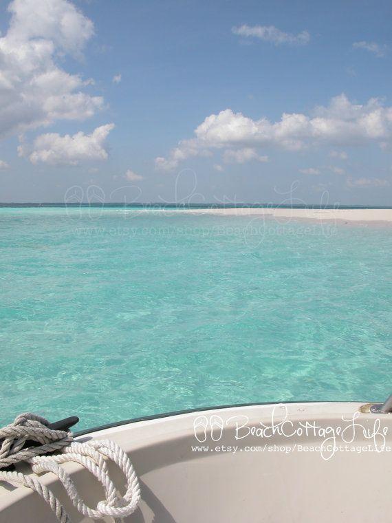 Anchored Off (Pelican Cay, Abaco, Bahama Out Islands -Nautical Boat Beach House Art) via Etsy