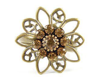 Topaze bague fleur de cristal Swarovski Vintage, réglable en laiton Antique Floral