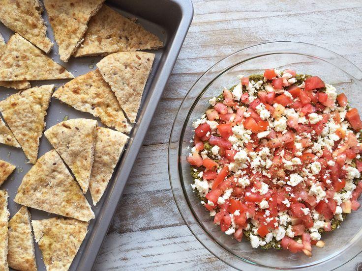 Actually as easy as 1-2-3. #healthy #pesto #dip http://greatist.com/eat/pesto-tomato-dip-with-homemade-pita-chips