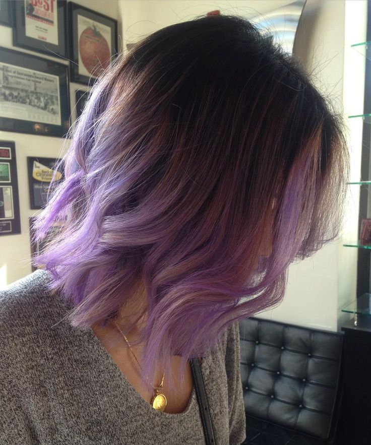 """@lattlove pulling off her long bob, root shade and lilac ends so well!"""