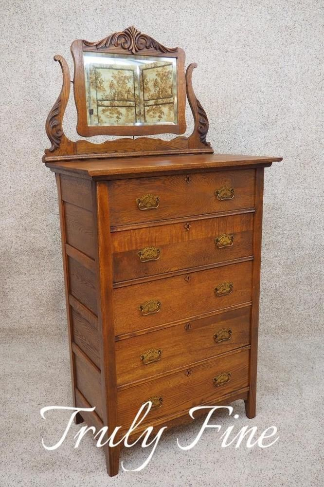 Details about Victorian Oak Antique Highboy Tall Chest of Drawers Dresser Mirror Civil War Era