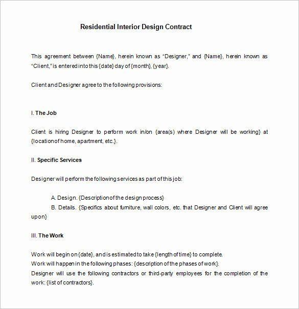 Interior Designer Contract  Agreement  Proposal Template Custom