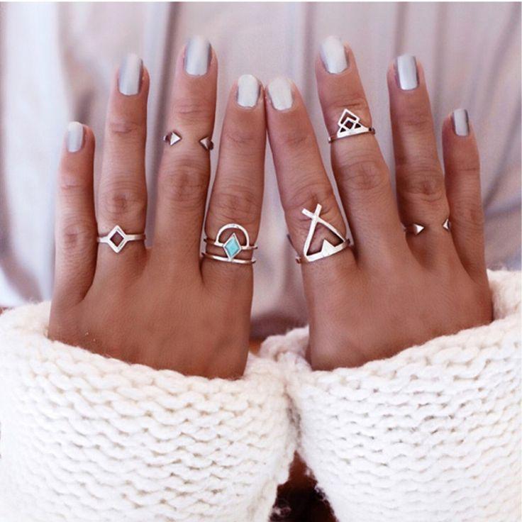 Boêmio 6 pcs/Pck Anti Vintage Anéis de Prata Azul Turquesa Sorte Empilháveis Anéis Midi Conjunto de Anéis para As Mulheres festa Frete Grátis em Anéis de Jóias & Acessórios no AliExpress.com | Alibaba Group
