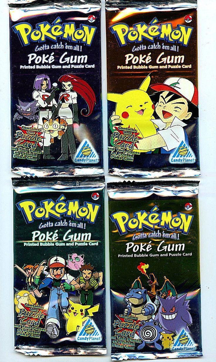 Poke Gum Pokemon Candy Planet 4 Card Packs Set 1999 Packs 1-4 Z5