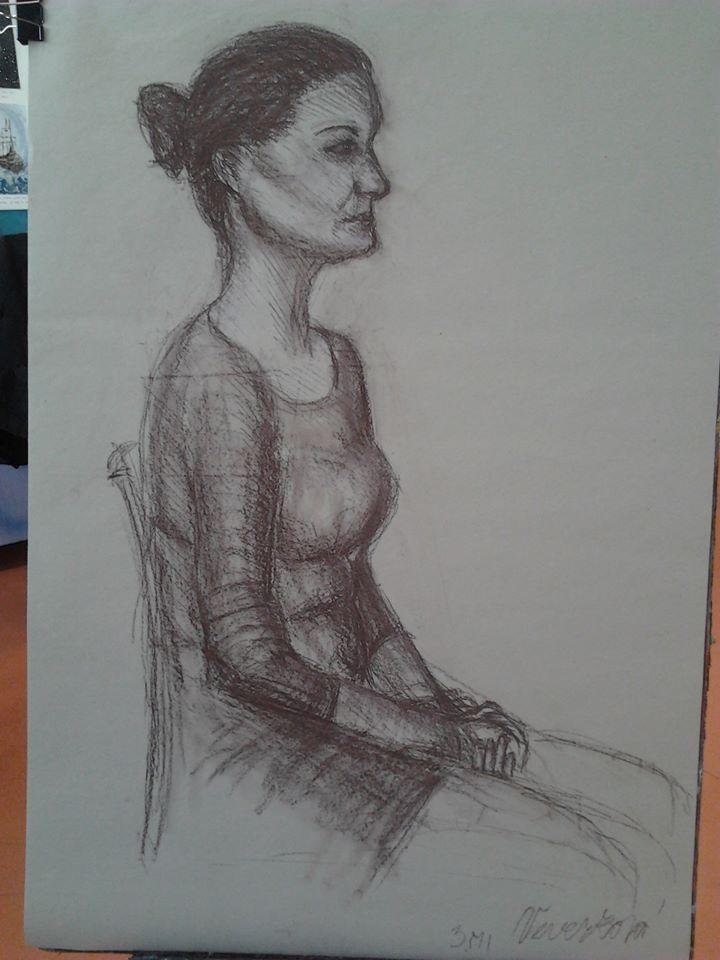 Studie figury (kresba rudkou)