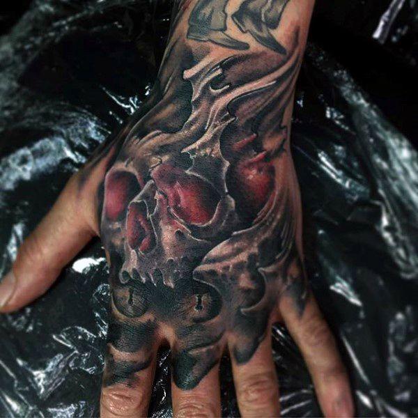 75 Finger Tattoos For Men: 80 Skull Hand Tattoo Designs For Men