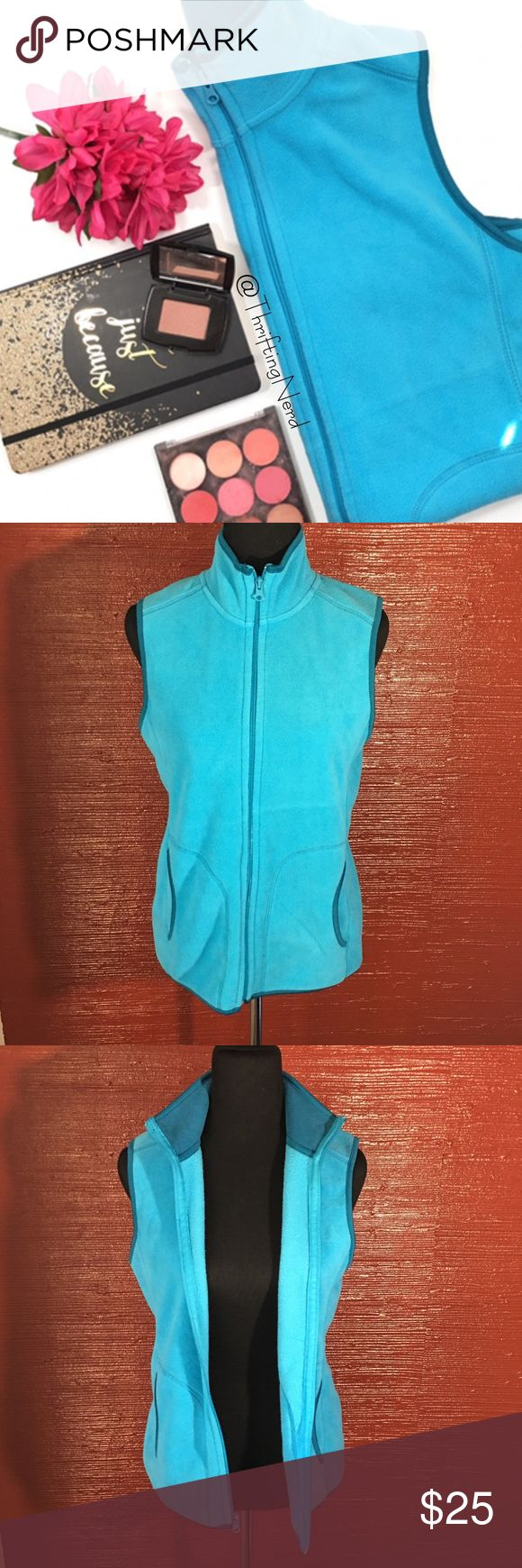 Old Navy Fleece Blue Vest * Old Navy brand * Fleece vest * Light blue with a darker blue trim * Size Medium * Made in China * Front pockets * Zip up in front * 100% polyester  * Pre-Owned, excellent condition Old Navy Jackets & Coats Vests