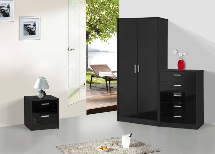 NEW High Gloss 3 Piece Bedroom Furniture Set   Wardrobe Chest Bedside Black. 36 best bed images on Pinterest   3 4 beds  Sofa beds and Bedroom